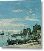Quay At Villefranche Metal Print by Eugene Boudin