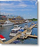 Quays Along Saint Lawrence River In Montreal-qc Metal Print