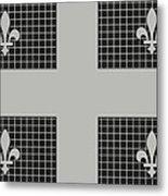 Quebec Metal Mesh Flag Metal Print