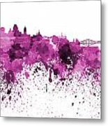 Quebec Skyline In Pink Watercolor On White Background Metal Print