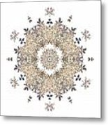 Queen Annes Lace I Flower Mandala White Metal Print