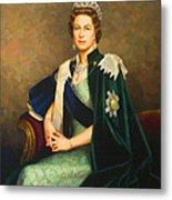 Queen Elizabeth II Portrait - Oil On Canvas Metal Print