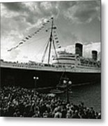 Queen Elizabeth Ship In Harbor By Barney Stein Metal Print by Retro Images Archive
