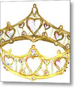 Queen Of Hearts Crown Tiara By Kristie Hubler Metal Print