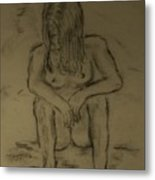 Quick Sketch Nude Metal Print by Carrie Viscome Skinner