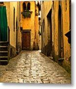 Quiet Lane In Tuscany 1 Metal Print