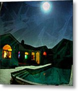 Quiet Night With A Full Moon Metal Print