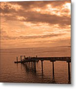 Quiet Peachy Toned Pier Metal Print