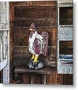 Quiet Rooster Wood Carved Metal Print
