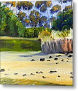Quiet Sand By The Creek Metal Print