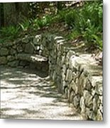 Bench In A Stone Wall Metal Print