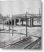 Quiet West Oakland Train Tracks With Overpass And San Francisco  Metal Print