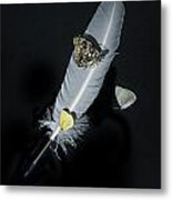 Quill With Butterflies Metal Print