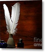 Quills And Inkwells Metal Print