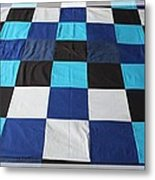 Quilt Blue Blocks Metal Print by Barbara Griffin
