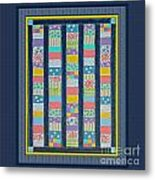 Quilt Painting With Digital Border 2 Metal Print