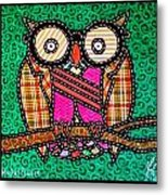 Quilted Mr Owl Esquire Metal Print