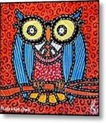 Quilted Professor Owl Metal Print