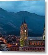 Quito Basilica At Night Metal Print