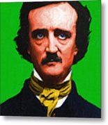 Quoth The Raven Nevermore - Edgar Allan Poe - Painterly - Green - With Text Metal Print