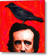 Quoth The Raven Nevermore - Edgar Allan Poe - Painterly - Square Metal Print