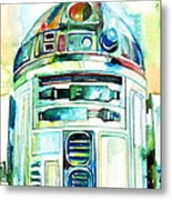 R2-d2 Watercolor Portrait Metal Print
