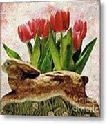 Rabbit And Pink Tulips Metal Print
