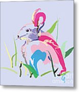 Rabbit - Bunny In Color Metal Print