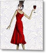 Rabbit In A Red Dress Metal Print