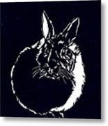 Rabbit Paper Cut Metal Print