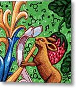 Rabbit Plays The Flute Metal Print