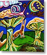 Rabbits At Night Metal Print