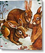 Rabbits In Snow Metal Print