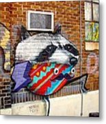 Raccoon On The Wall Metal Print