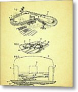 Race Car Track With Race Car Retaining Means Patent 1968 Metal Print