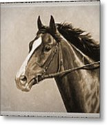 Race Horse Old Photo Fx Metal Print by Crista Forest