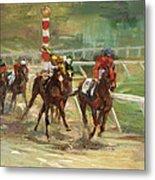 Race Horses Metal Print by Laurie Hein