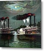 Race Of The Steamers Robert E Lee And Natchez Metal Print