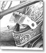 Racecar Driver Pencil Portrait  Metal Print