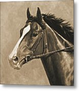 Racehorse Painting In Sepia Metal Print