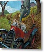 Racing Car Animals Metal Print by Martin Davey