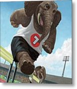 Racing Running Elephants In Athletic Stadium Metal Print by Martin Davey