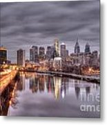 Racing To The City Lights - Philly Metal Print