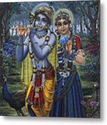 Radha And Krishna On Full Moon Metal Print by Vrindavan Das