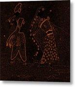 Radha Krishna Dancing Metal Print
