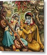 Radha Playing Vina Metal Print by Vrindavan Das