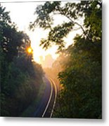 Rail Road Sunrise Metal Print