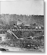 Railroad Bridge, C1860 Metal Print