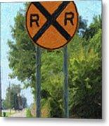 Railroad Crossing Sign Metal Print