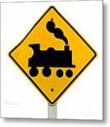 Railroad Crossing Steam Engine Roadsign On White Metal Print